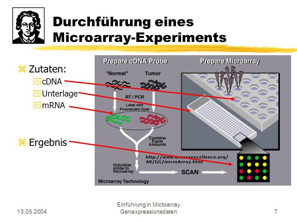 13.05.2004 Einführung in Mictoarray Genexpressionsdaten18 Mustererkennung- Methoden zProjektionsmethoden yHauptkomponentenanalyse ySOMs zClusteralghorithmen yHierarchisches Clustering