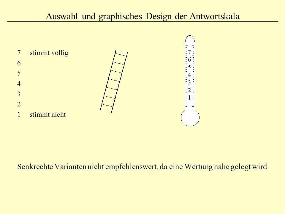 Auswahl und graphisches Design der Antwortskala 7 stimmt völlig 6 5 4 3 2 1 stimmt nicht Senkrechte Varianten nicht empfehlenswert, da eine Wertung na