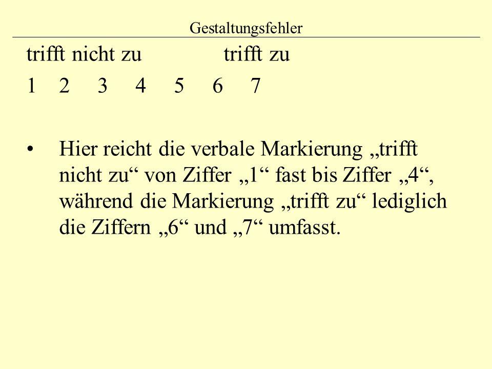 """Gestaltungsfehler trifft nicht zu trifft zu 12 3 4 5 6 7 Hier reicht die verbale Markierung """"trifft nicht zu"""" von Ziffer """"1"""" fast bis Ziffer """"4"""", währ"""