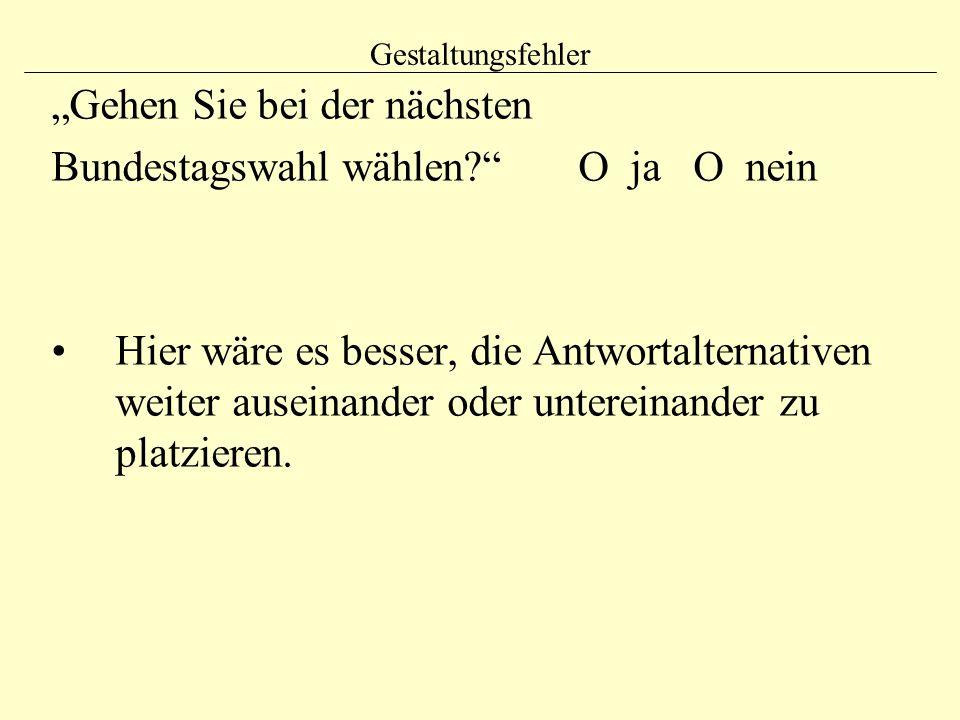 """Gestaltungsfehler """"Gehen Sie bei der nächsten Bundestagswahl wählen?"""" O ja O nein Hier wäre es besser, die Antwortalternativen weiter auseinander oder"""
