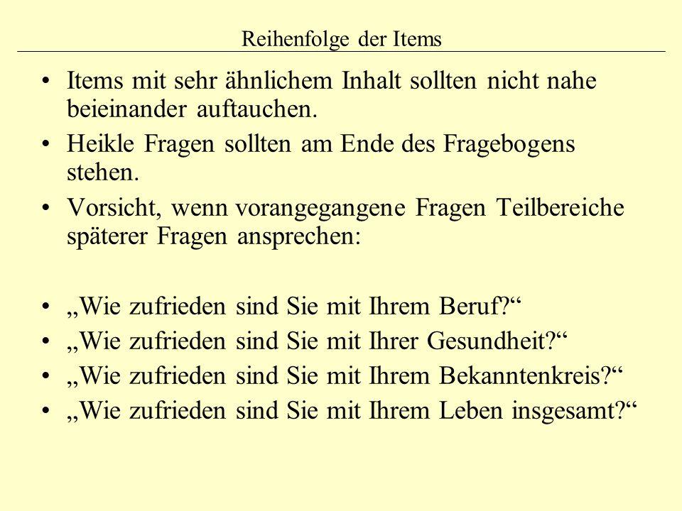 Item-Analyse Berechnung der Schwierigkeit (bzw.