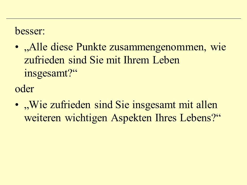 """Art und Anzahl der Antwortmöglichkeiten """"Wie gut finden Sie die Bundespolitik der SPD? sehr schlecht eher schlecht mittel- mäßig eher gutsehr gut """"Wie gut finden Sie die Bundespolitik der SPD? sehr schlecht eher schlecht eher gutsehr gut"""
