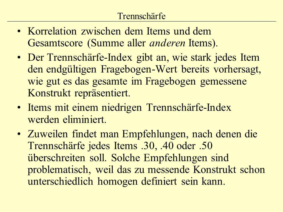 Trennschärfe Korrelation zwischen dem Items und dem Gesamtscore (Summe aller anderen Items). Der Trennschärfe-Index gibt an, wie stark jedes Item den
