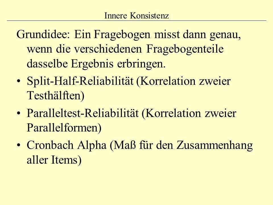 Innere Konsistenz Grundidee: Ein Fragebogen misst dann genau, wenn die verschiedenen Fragebogenteile dasselbe Ergebnis erbringen. Split-Half-Reliabili