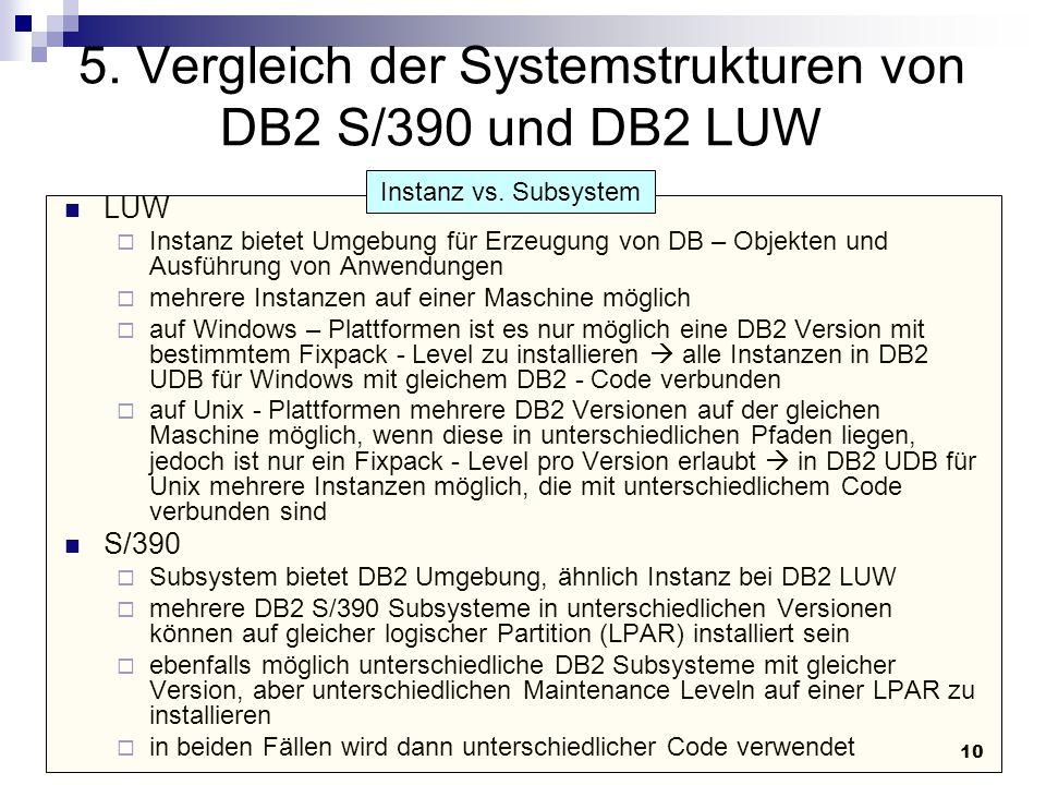 10 5. Vergleich der Systemstrukturen von DB2 S/390 und DB2 LUW LUW  Instanz bietet Umgebung für Erzeugung von DB – Objekten und Ausführung von Anwend