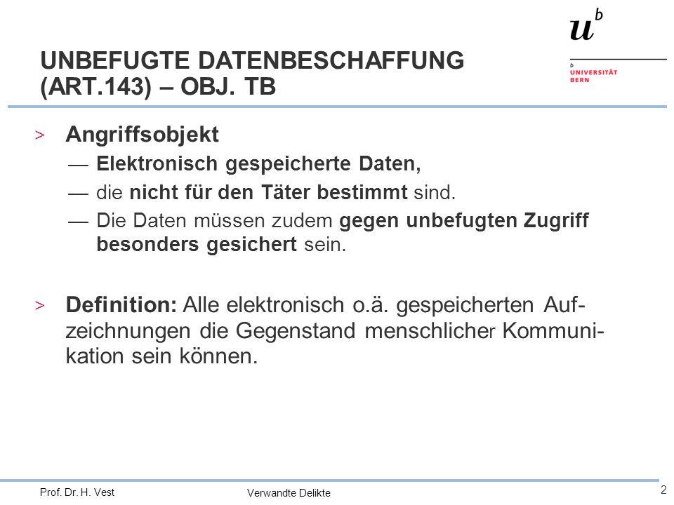 Verwandte Delikte 2 Prof. Dr. H. Vest UNBEFUGTE DATENBESCHAFFUNG (ART.143) – OBJ.