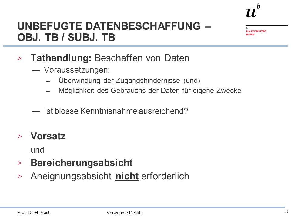 Verwandte Delikte 3 Prof. Dr. H. Vest UNBEFUGTE DATENBESCHAFFUNG – OBJ.