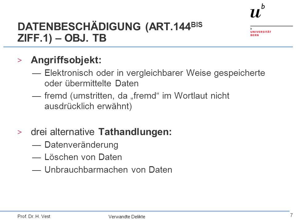 Verwandte Delikte 7 Prof. Dr. H. Vest DATENBESCHÄDIGUNG (ART.144 BIS ZIFF.1) – OBJ.