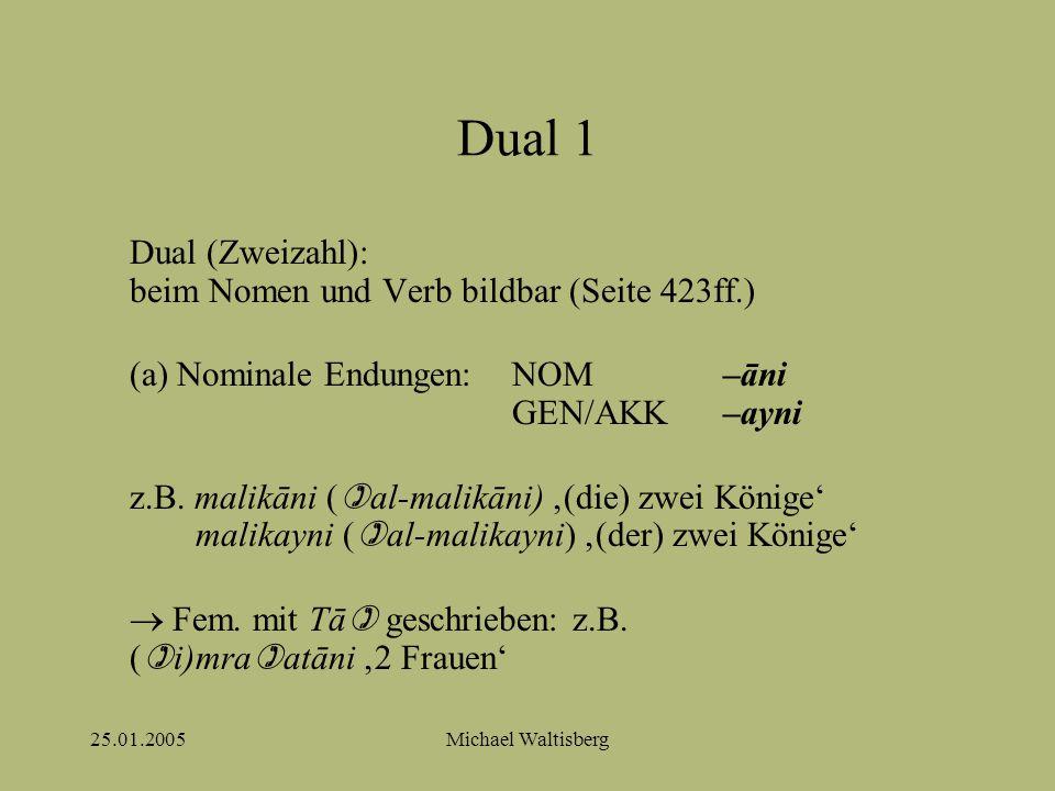 25.01.2005Michael Waltisberg Dual 1 Dual (Zweizahl): beim Nomen und Verb bildbar (Seite 423ff.) (a) Nominale Endungen: NOM–āni GEN/AKK–ayni z.B.