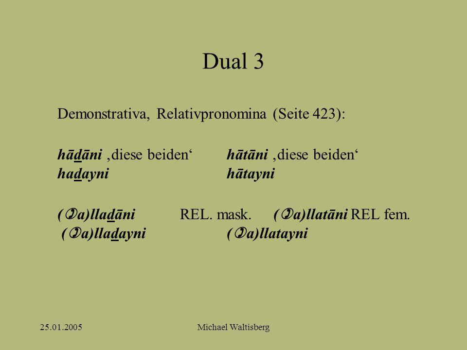 25.01.2005Michael Waltisberg Dual 3 Demonstrativa, Relativpronomina (Seite 423): hādāni 'diese beiden'hātāni 'diese beiden' hadaynihātayni (  a)lladāniREL.