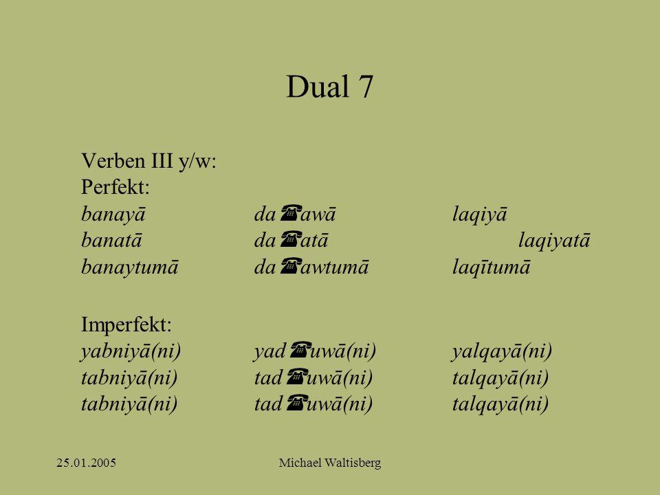 25.01.2005Michael Waltisberg Dual 7 Verben III y/w: Perfekt: banayāda  awālaqiyā banatāda  atālaqiyatā banaytumāda  awtumālaqītumā Imperfekt: yabniyā(ni)yad  uwā(ni)yalqayā(ni) tabniyā(ni)tad  uwā(ni)talqayā(ni) tabniyā(ni)tad  uwā(ni)talqayā(ni)