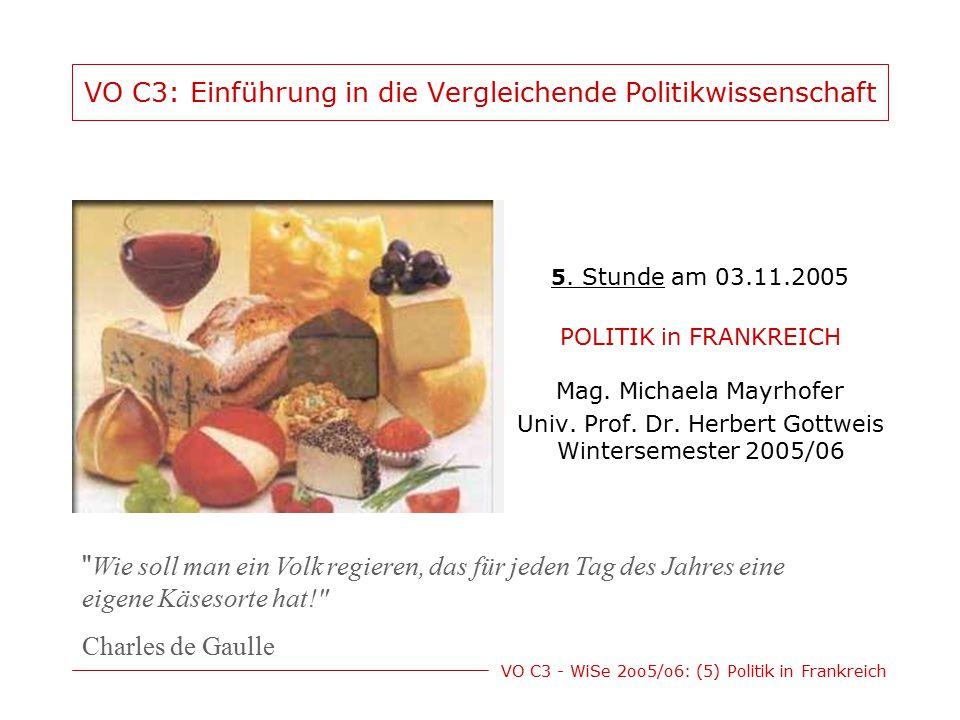 VO C3 - WiSe 2oo5/o6: (5) Politik in Frankreich VO C3: Einführung in die Vergleichende Politikwissenschaft 5. Stunde am 03.11.2005 POLITIK in FRANKREI