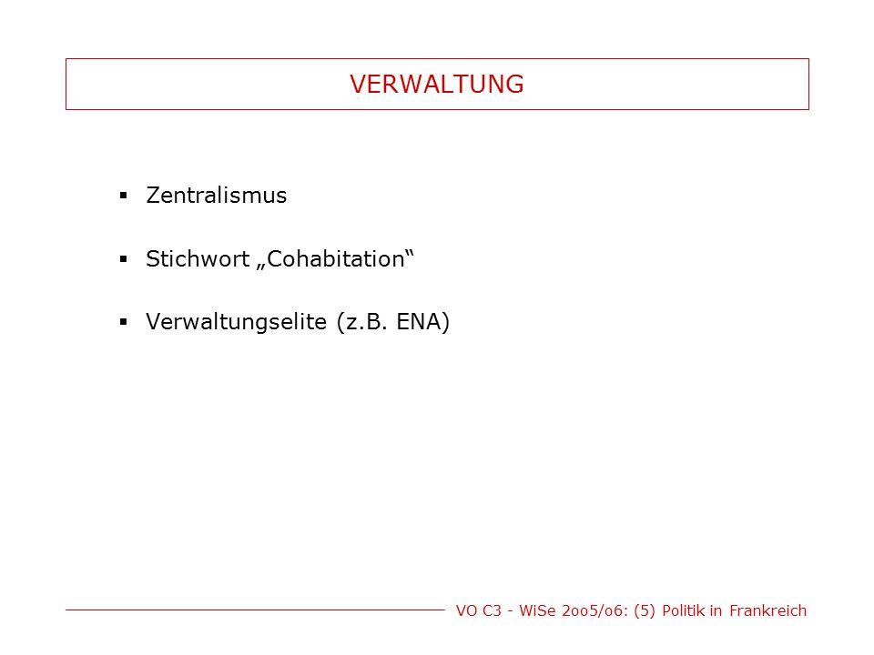 """VO C3 - WiSe 2oo5/o6: (5) Politik in Frankreich VERWALTUNG  Zentralismus  Stichwort """"Cohabitation""""  Verwaltungselite (z.B. ENA)"""