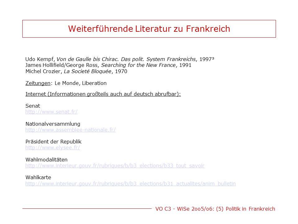 VO C3 - WiSe 2oo5/o6: (5) Politik in Frankreich Weiterführende Literatur zu Frankreich Udo Kempf, Von de Gaulle bis Chirac. Das polit. System Frankrei