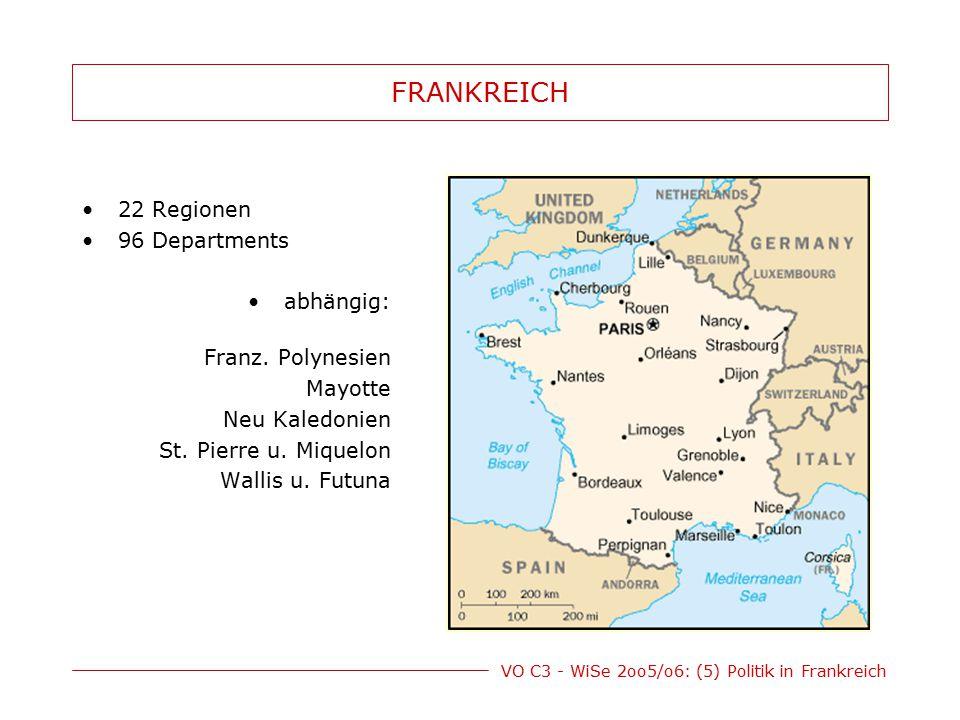 VO C3 - WiSe 2oo5/o6: (5) Politik in Frankreich FRANKREICH 22 Regionen 96 Departments abhängig: Franz. Polynesien Mayotte Neu Kaledonien St. Pierre u.