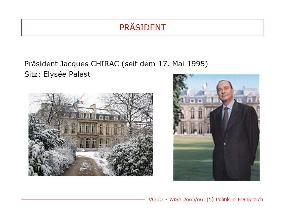 VO C3 - WiSe 2oo5/o6: (5) Politik in Frankreich MACHTBEFUGNISSE des PRÄSIDENTEN (1)Bestellung des Regierungschefs (2)Auflösung d.