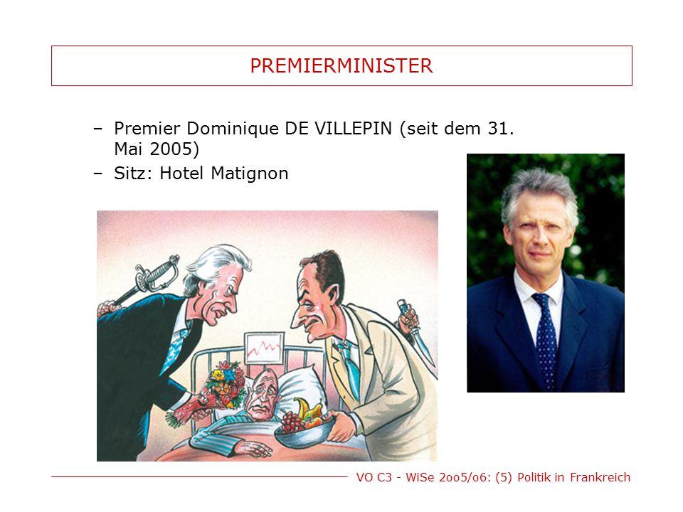 VO C3 - WiSe 2oo5/o6: (5) Politik in Frankreich PREMIERMINISTER –Premier Dominique DE VILLEPIN (seit dem 31. Mai 2005) –Sitz: Hotel Matignon