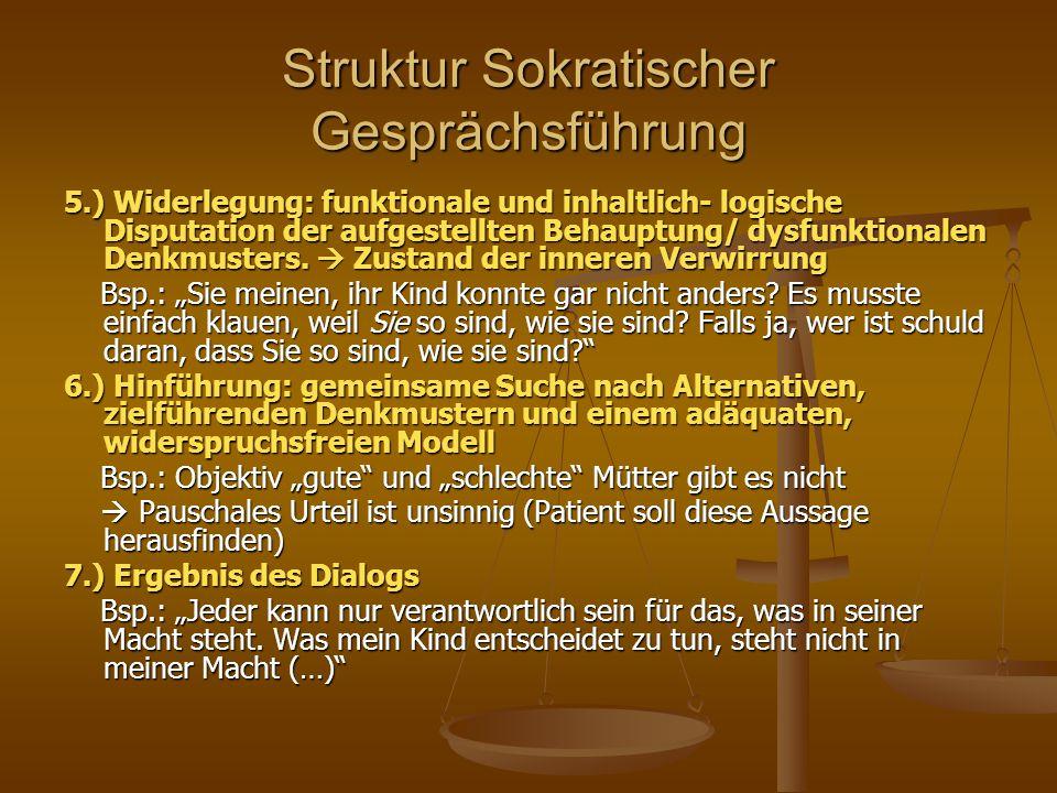 Struktur Sokratischer Gesprächsführung 5.) Widerlegung: funktionale und inhaltlich- logische Disputation der aufgestellten Behauptung/ dysfunktionalen