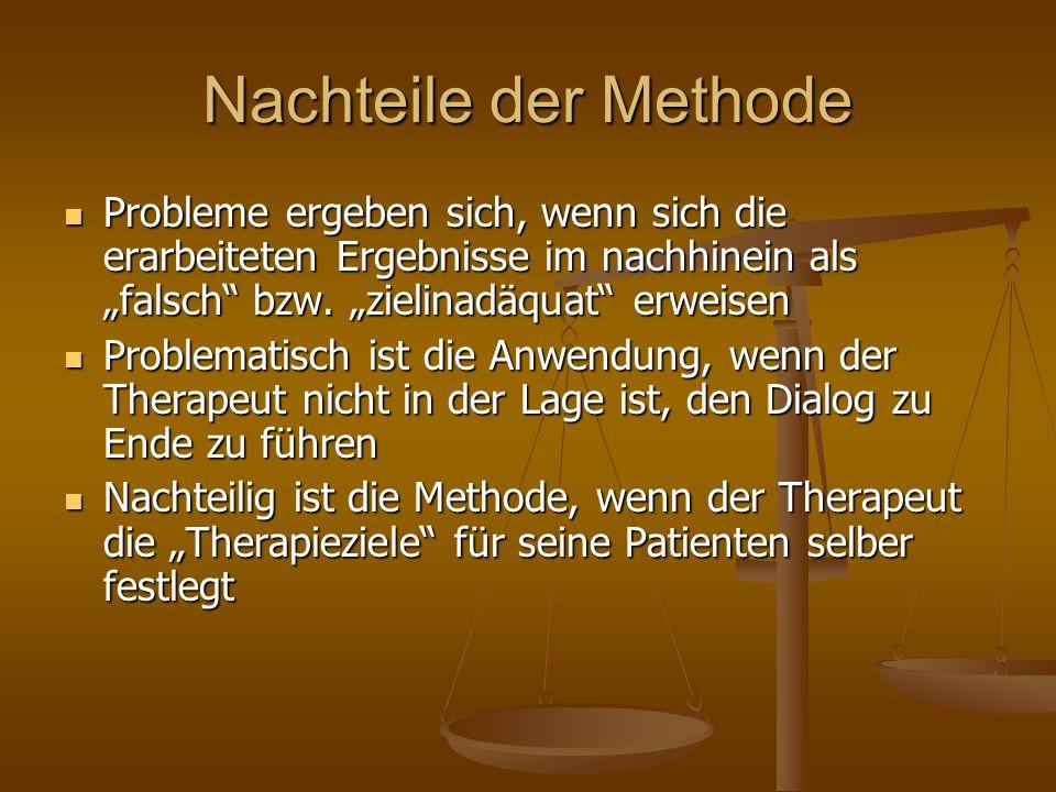 """Nachteile der Methode Probleme ergeben sich, wenn sich die erarbeiteten Ergebnisse im nachhinein als """"falsch"""" bzw. """"zielinadäquat"""" erweisen Probleme e"""