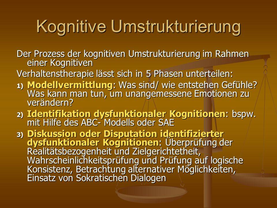 Kognitive Umstrukturierung Der Prozess der kognitiven Umstrukturierung im Rahmen einer Kognitiven Verhaltenstherapie lässt sich in 5 Phasen unterteile