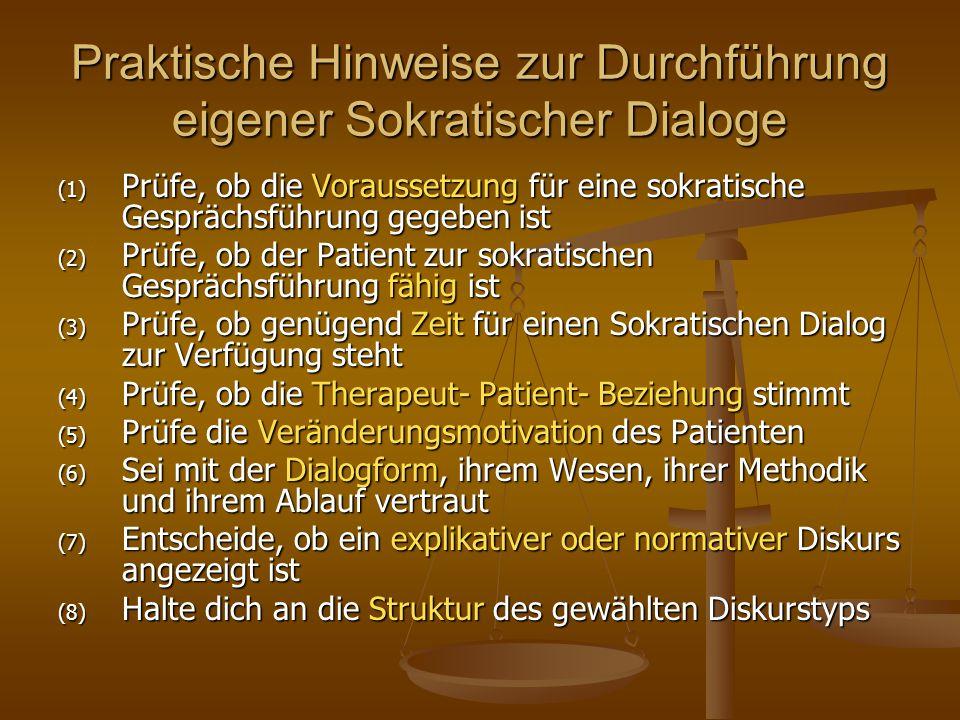 (1) Prüfe, ob die Voraussetzung für eine sokratische Gesprächsführung gegeben ist (2) Prüfe, ob der Patient zur sokratischen Gesprächsführung fähig is