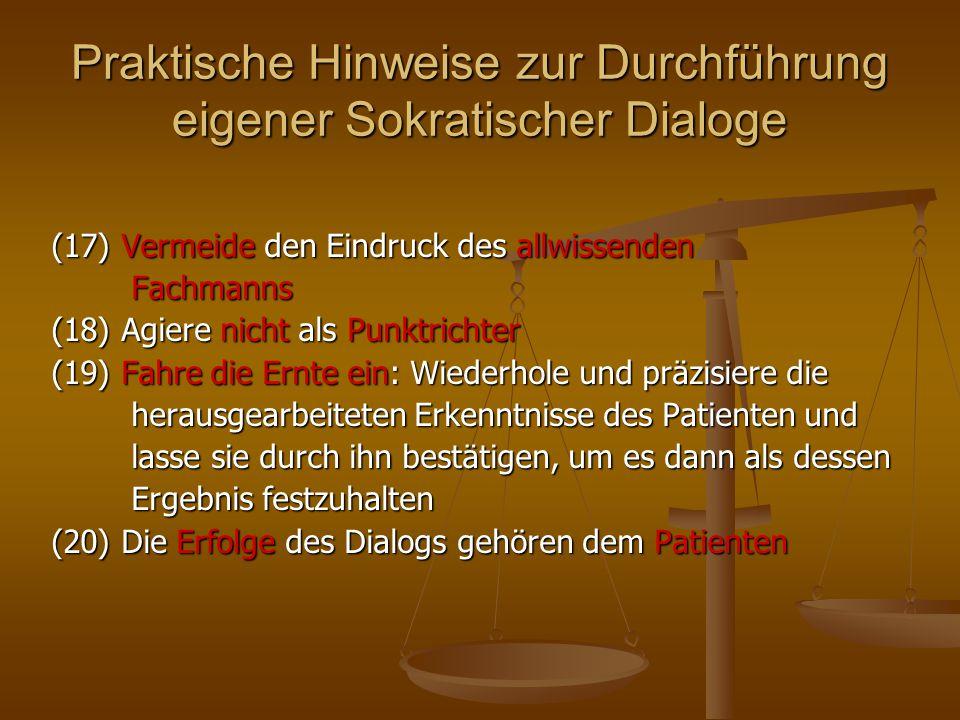 Praktische Hinweise zur Durchführung eigener Sokratischer Dialoge (17) Vermeide den Eindruck des allwissenden Fachmanns Fachmanns (18) Agiere nicht al