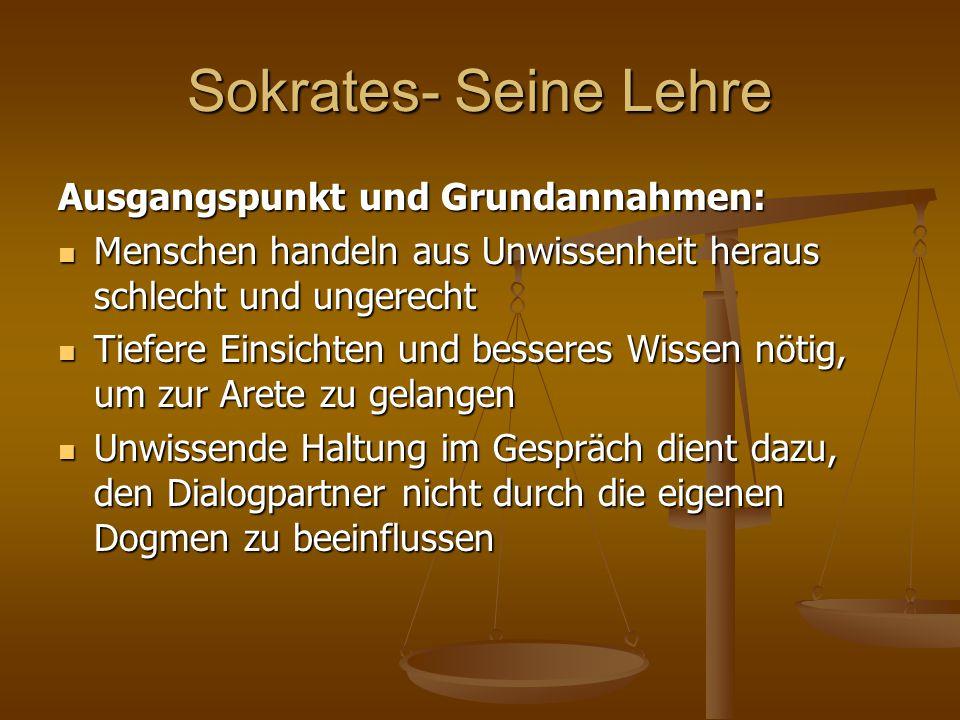 """Sokrates- Seine Lehre """"Zustand der inneren Verwirrung : Sokrates prüft als naiver Frager seine Gesprächspartner solange in ihrem behaupteten Wissen um moralische Normen und Begriffe und verwickelt sie in Widersprüche, um sie in den """"Zustand der inneren Verwirrung zu verleiten Sokrates prüft als naiver Frager seine Gesprächspartner solange in ihrem behaupteten Wissen um moralische Normen und Begriffe und verwickelt sie in Widersprüche, um sie in den """"Zustand der inneren Verwirrung zu verleiten Dieser Zustand führt zu einer massiven Verunsicherung, so dass Veränderungsprozesse ermöglicht werden  geistige Neuorientierung und ein selbstbestimmtes Leben."""