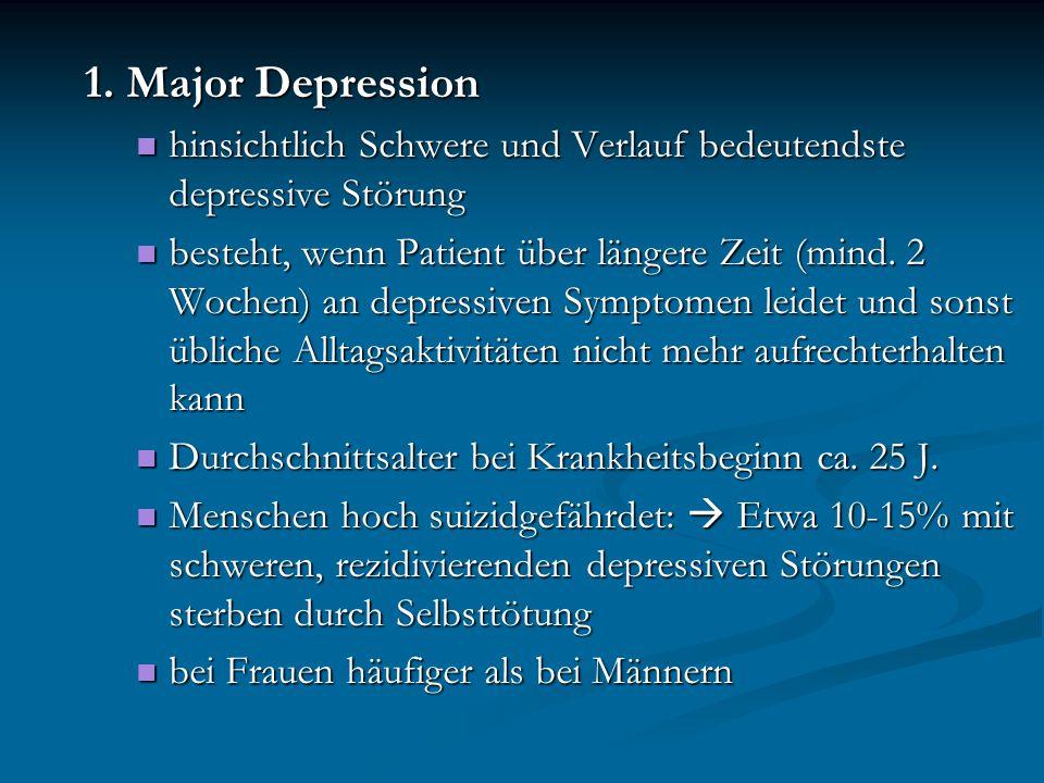 1. Major Depression hinsichtlich Schwere und Verlauf bedeutendste depressive Störung hinsichtlich Schwere und Verlauf bedeutendste depressive Störung