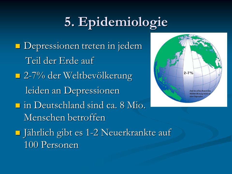 5. Epidemiologie Depressionen treten in jedem Depressionen treten in jedem Teil der Erde auf Teil der Erde auf 2-7% der Weltbevölkerung 2-7% der Weltb