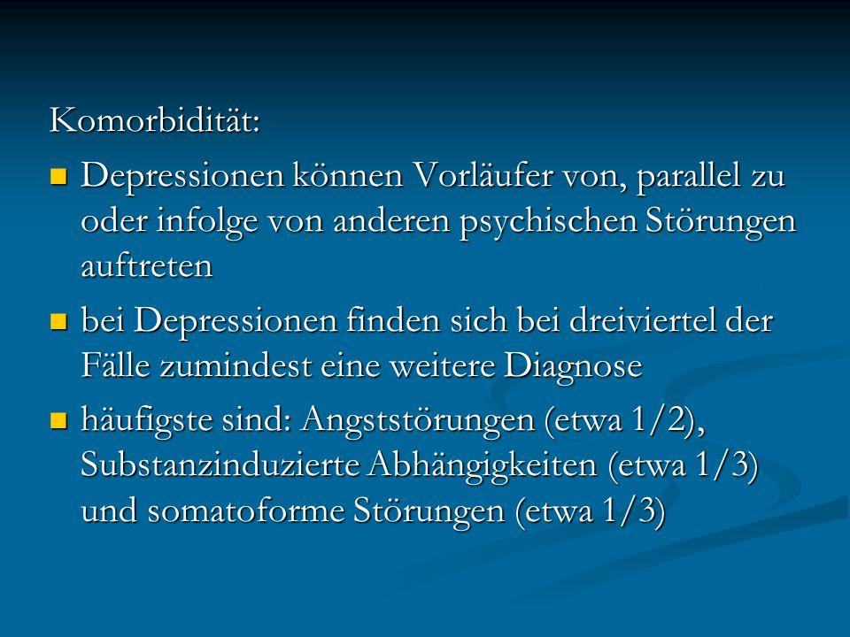 Komorbidität: Depressionen können Vorläufer von, parallel zu oder infolge von anderen psychischen Störungen auftreten Depressionen können Vorläufer vo