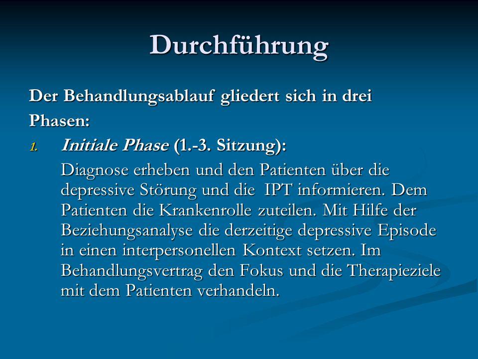 Durchführung Der Behandlungsablauf gliedert sich in drei Phasen: 1. Initiale Phase (1.-3. Sitzung): Diagnose erheben und den Patienten über die depres