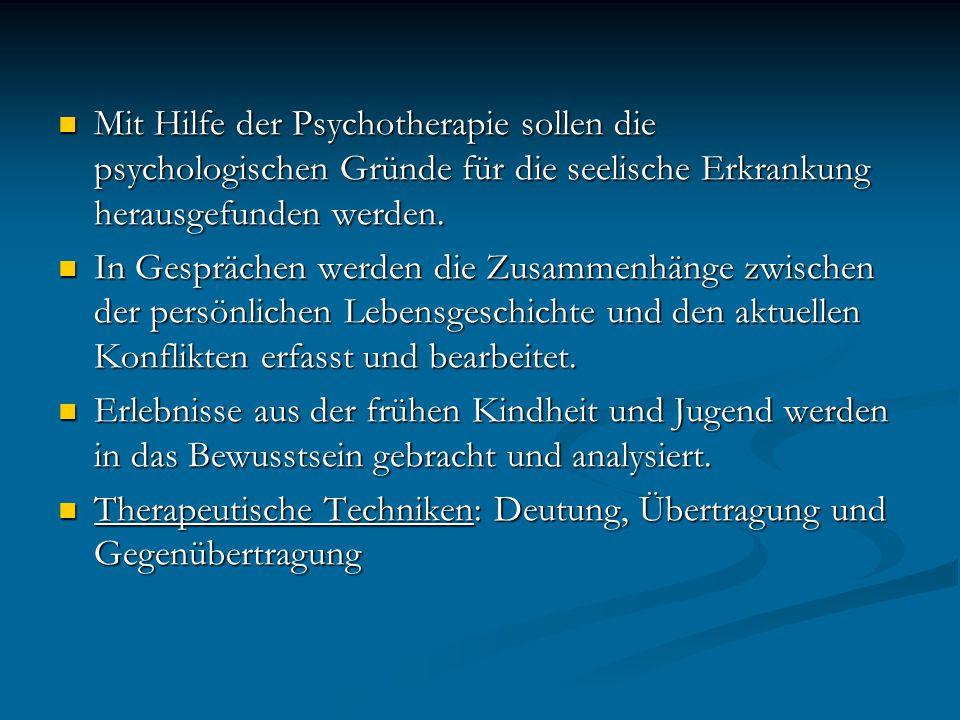 Mit Hilfe der Psychotherapie sollen die psychologischen Gründe für die seelische Erkrankung herausgefunden werden. Mit Hilfe der Psychotherapie sollen