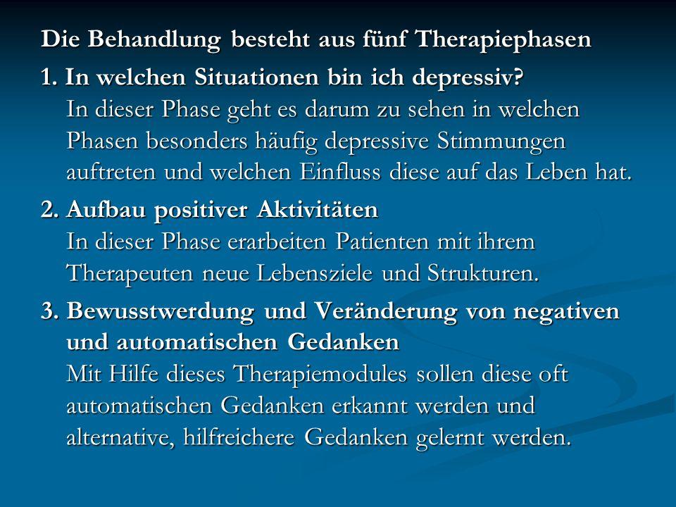 Die Behandlung besteht aus fünf Therapiephasen 1. In welchen Situationen bin ich depressiv? In dieser Phase geht es darum zu sehen in welchen Phasen b