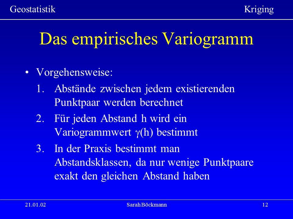 Geostatistik Kriging 21.01.02Sarah Böckmann12 Das empirisches Variogramm Vorgehensweise: 1.Abstände zwischen jedem existierenden Punktpaar werden bere