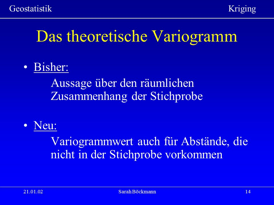 Geostatistik Kriging 21.01.02Sarah Böckmann14 Das theoretische Variogramm Bisher: Aussage über den räumlichen Zusammenhang der Stichprobe Neu: Variogr