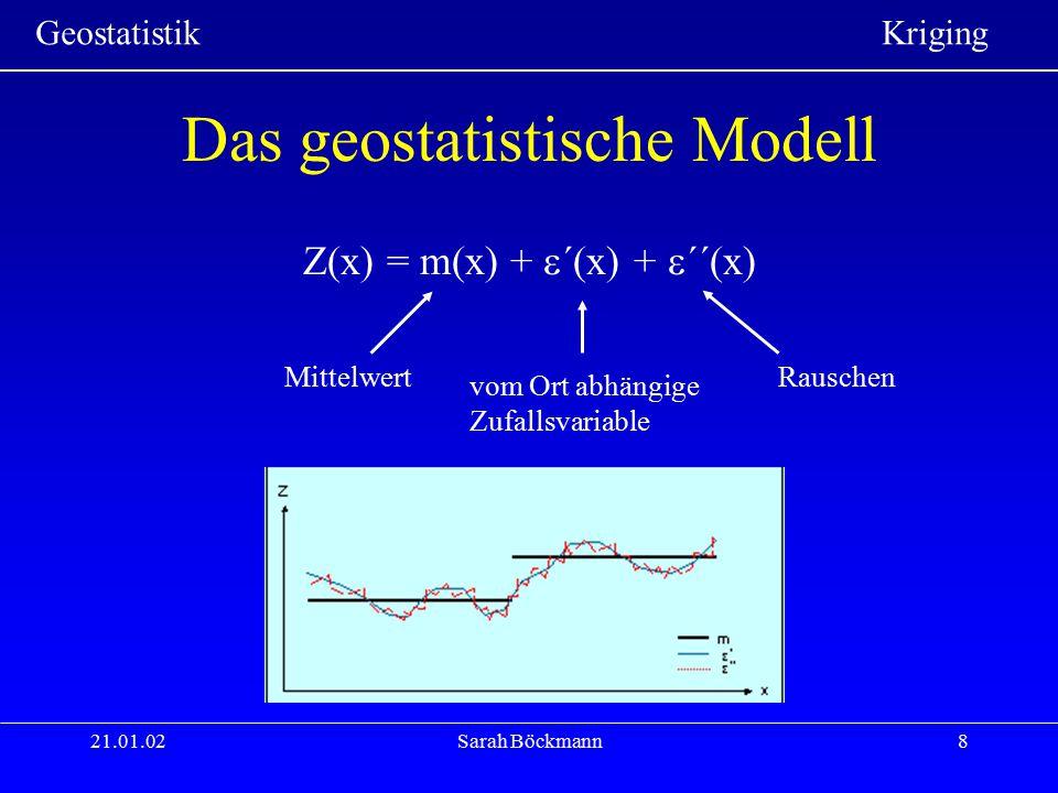 Geostatistik Kriging 21.01.02Sarah Böckmann19 Kenngrößen des Variogramms SchwellenwertSchwellenwert: Maximum von  (h) Aussageweite:Aussageweite: Abstand bei dem das Variogramm einen Schwellenwert erreicht NuggetNugget: Schnittpunkt mit der y-Achse, existiert, wenn das Variogramm nicht durch den Ursprung verläuft (Rauschen)