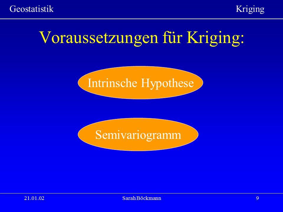 Geostatistik Kriging 21.01.02Sarah Böckmann30 Umsetzung in ArcGIS Kreieren einer Oberfläche Klick auf Geostatistical Analyst, wähle den Geostatistical Wizard