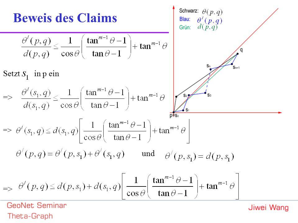 Setzt in p ein => und => Beweis des Claims