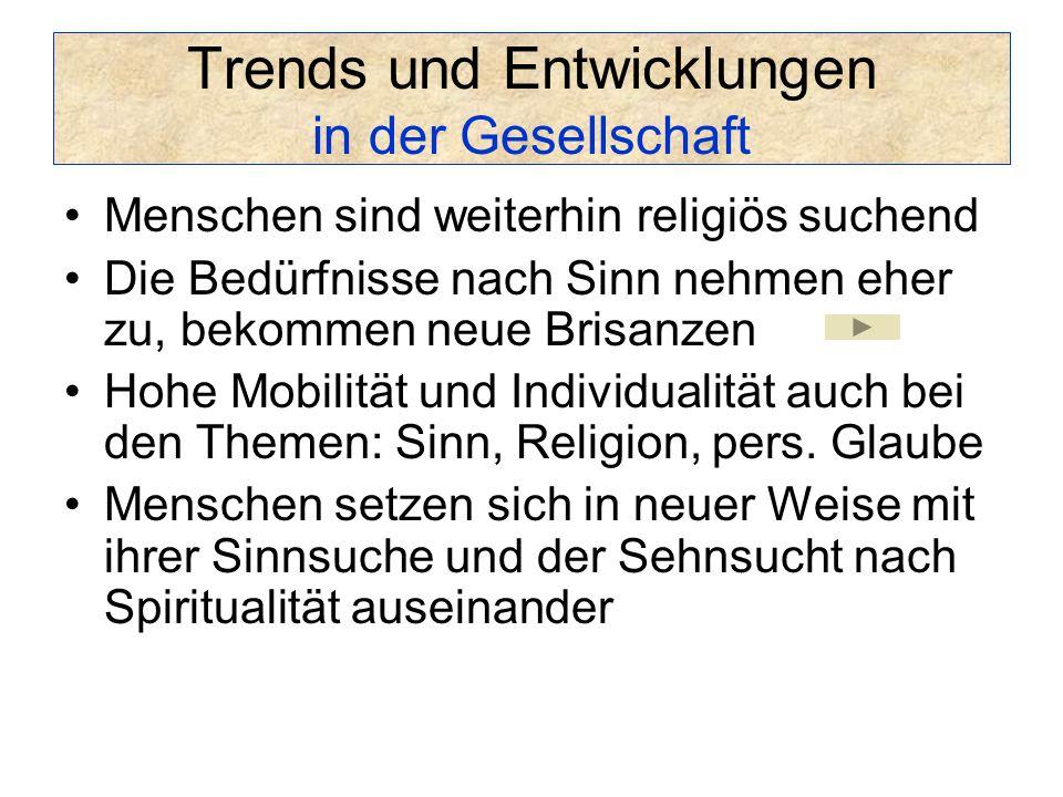 Trends und Entwicklungen in der Gesellschaft Menschen sind weiterhin religiös suchend Die Bedürfnisse nach Sinn nehmen eher zu, bekommen neue Brisanzen Hohe Mobilität und Individualität auch bei den Themen: Sinn, Religion, pers.