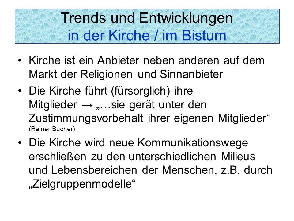 Trends und Entwicklungen in der Kirche / im Bistum Kirche ist ein Anbieter neben anderen auf dem Markt der Religionen und Sinnanbieter Die Kirche führ