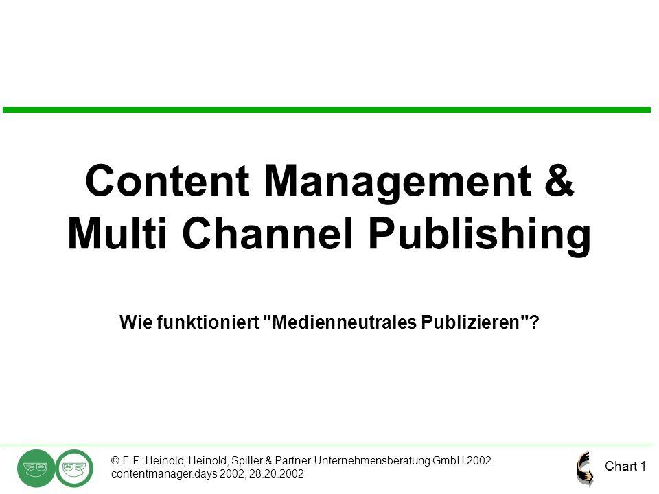 Chart 1 © E.F. Heinold, Heinold, Spiller & Partner Unternehmensberatung GmbH 2002 contentmanager.days 2002, 28.20.2002 Content Management & Multi Chan