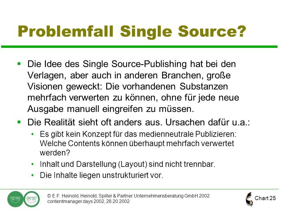 Chart 25 © E.F. Heinold, Heinold, Spiller & Partner Unternehmensberatung GmbH 2002 contentmanager.days 2002, 28.20.2002 Problemfall Single Source?  D