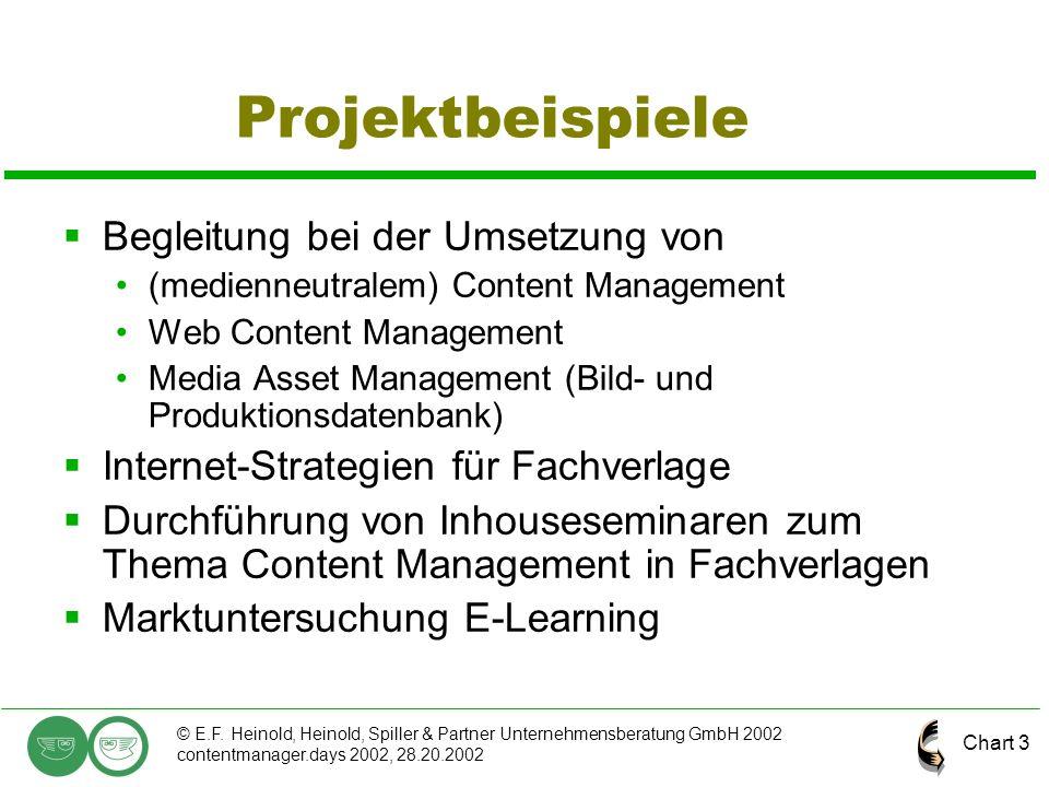 Chart 3 © E.F. Heinold, Heinold, Spiller & Partner Unternehmensberatung GmbH 2002 contentmanager.days 2002, 28.20.2002 Projektbeispiele  Begleitung b
