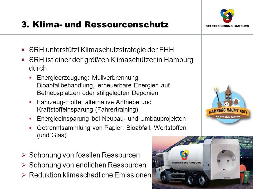 3. Klima- und Ressourcenschutz  SRH unterstützt Klimaschutzstrategie der FHH  SRH ist einer der größten Klimaschützer in Hamburg durch  Energieerze