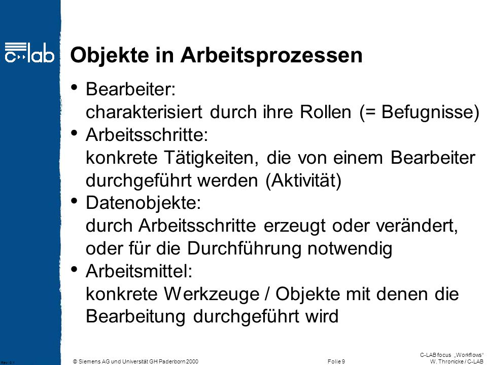 """© Siemens AG und Universität GH Paderborn 2000 C-LAB focus """"Workflows W."""