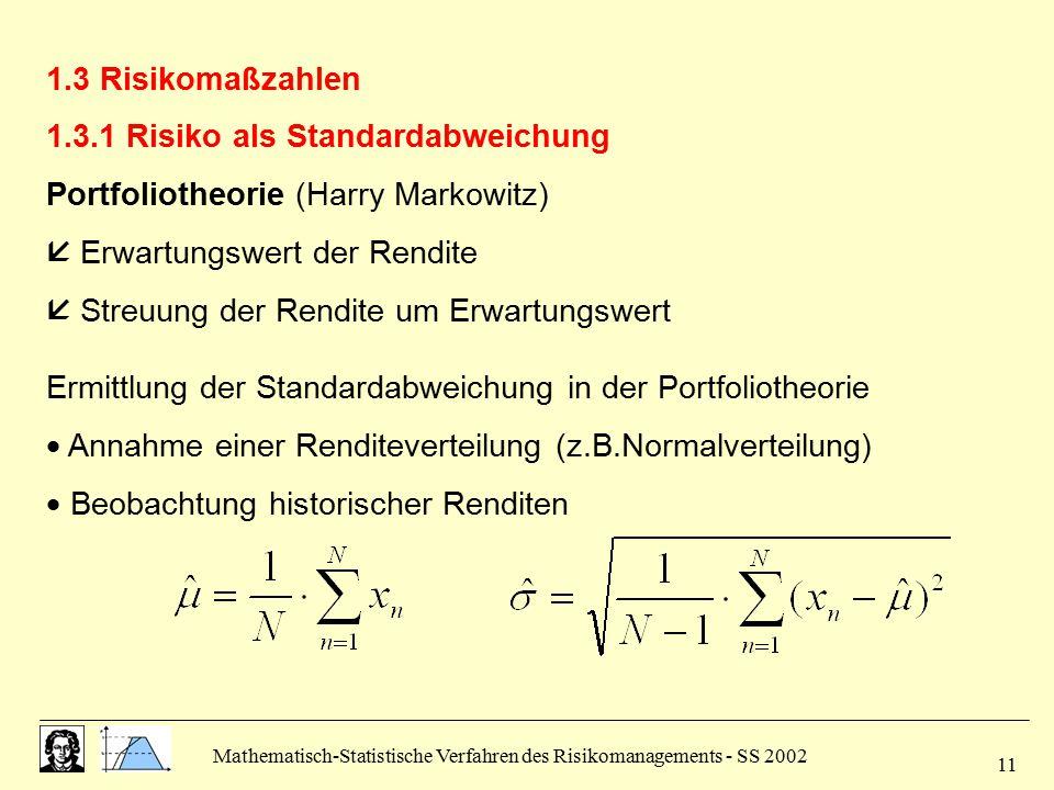 Mathematisch-Statistische Verfahren des Risikomanagements - SS 2002 11 1.3 Risikomaßzahlen 1.3.1 Risiko als Standardabweichung Portfoliotheorie (Harry