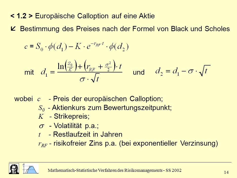Mathematisch-Statistische Verfahren des Risikomanagements - SS 2002 14 Europäische Calloption auf eine Aktie  Bestimmung des Preises nach der Formel