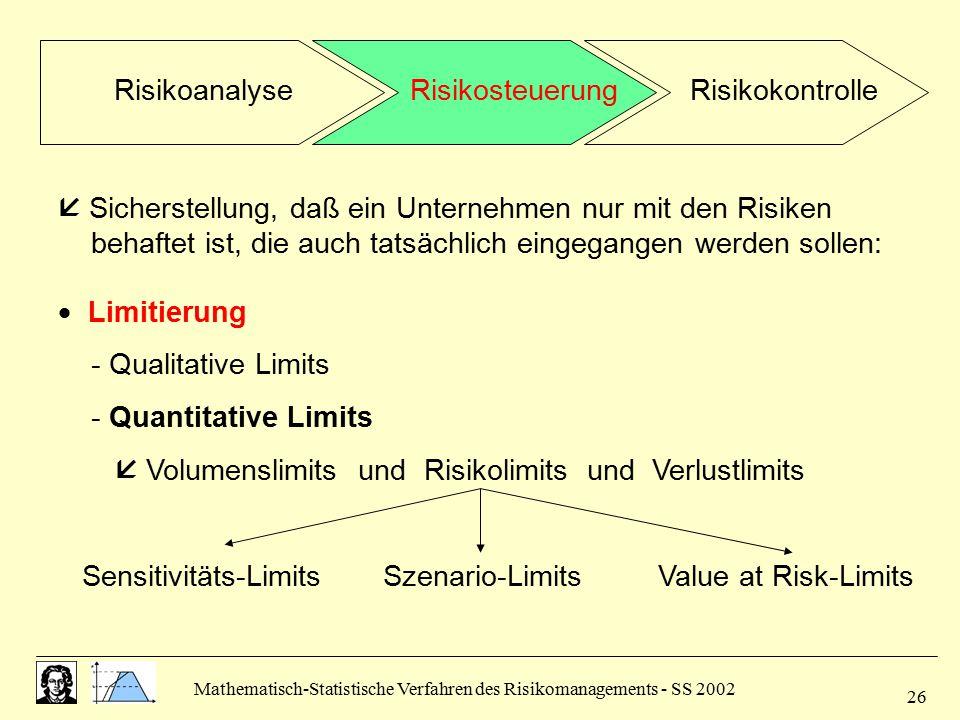 Mathematisch-Statistische Verfahren des Risikomanagements - SS 2002 26  Sicherstellung, daß ein Unternehmen nur mit den Risiken behaftet ist, die auc