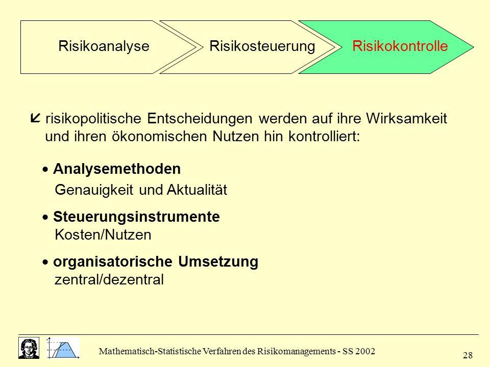 Mathematisch-Statistische Verfahren des Risikomanagements - SS 2002 28  risikopolitische Entscheidungen werden auf ihre Wirksamkeit und ihren ökonomi