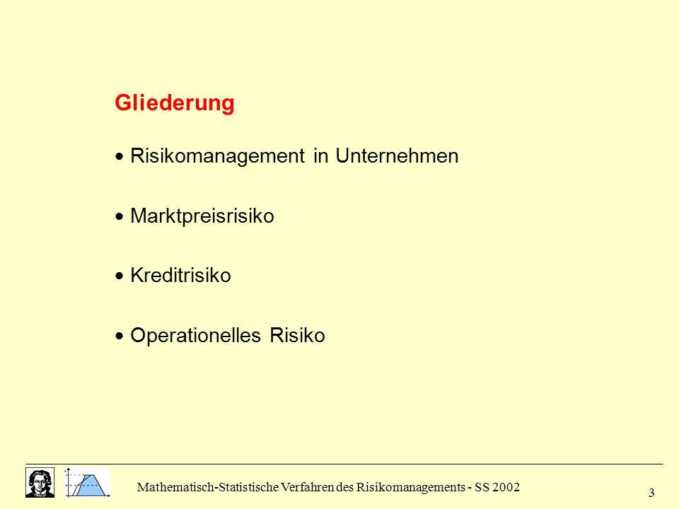 Mathematisch-Statistische Verfahren des Risikomanagements - SS 2002 3 Gliederung  Risikomanagement in Unternehmen  Marktpreisrisiko  Kreditrisiko 